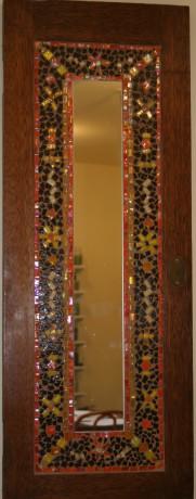 Re-purposed cabinet door to mirror